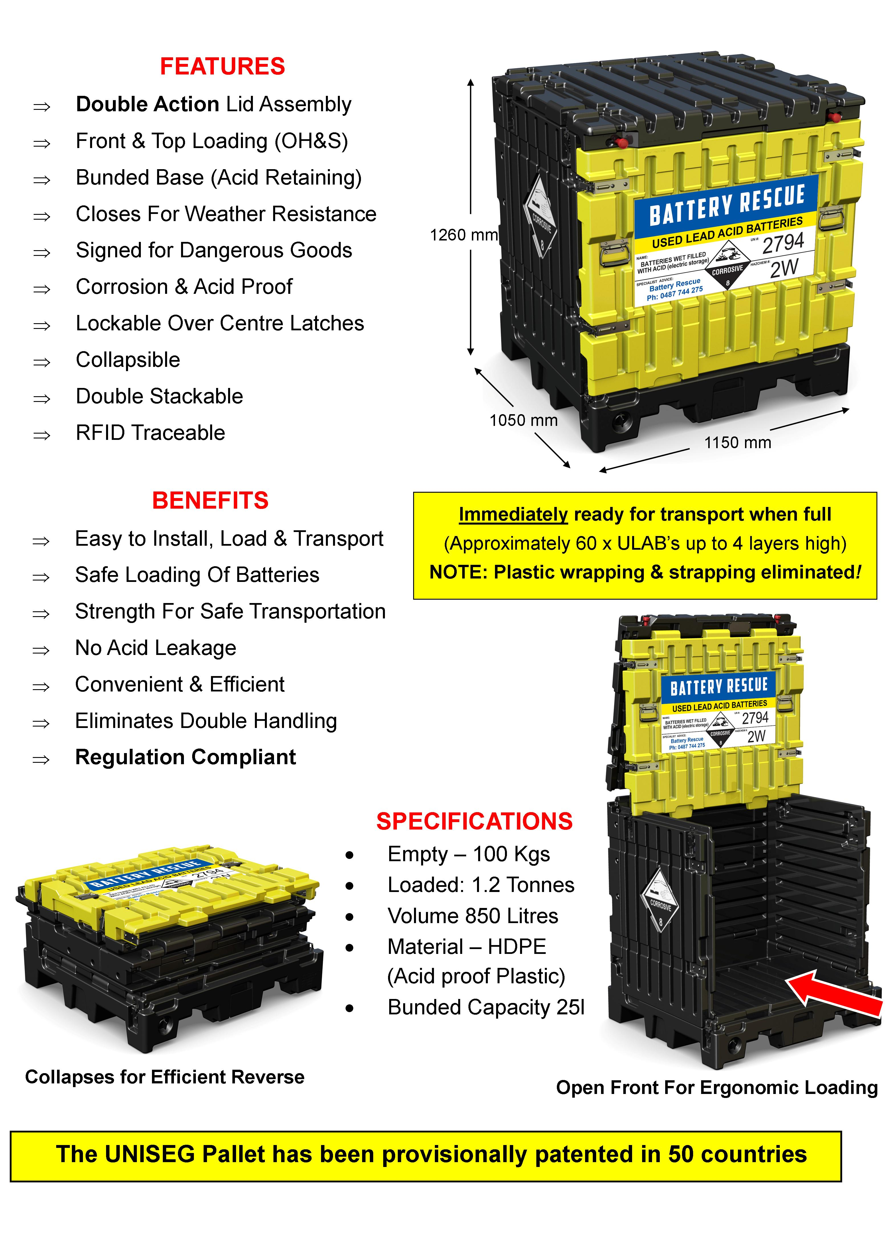 UNISEG Pallet features for used battery collections