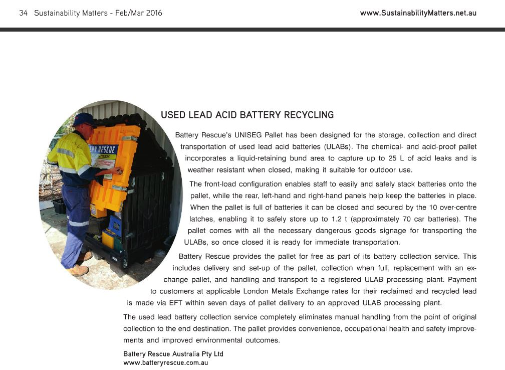 Battery Rescue featured in Sustainability Matter Magazine