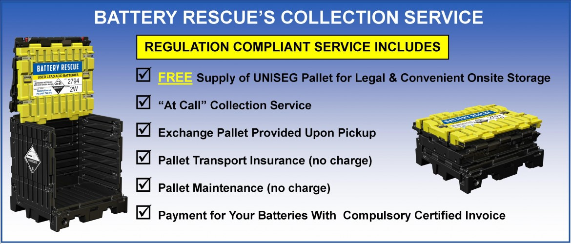 Battery Rescue's Used Battery Collection Service