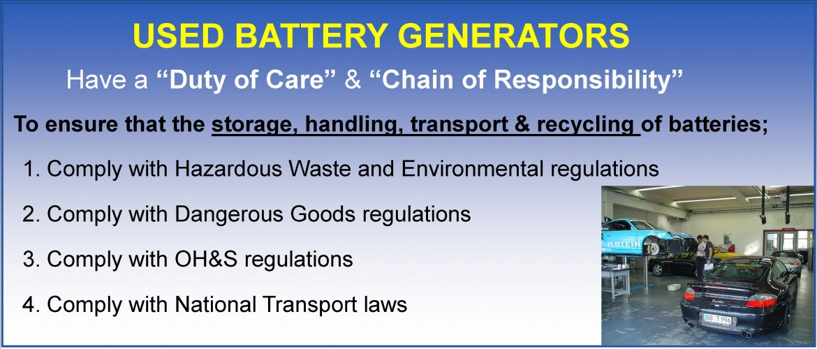 Used Battery Generator's Responsibilities