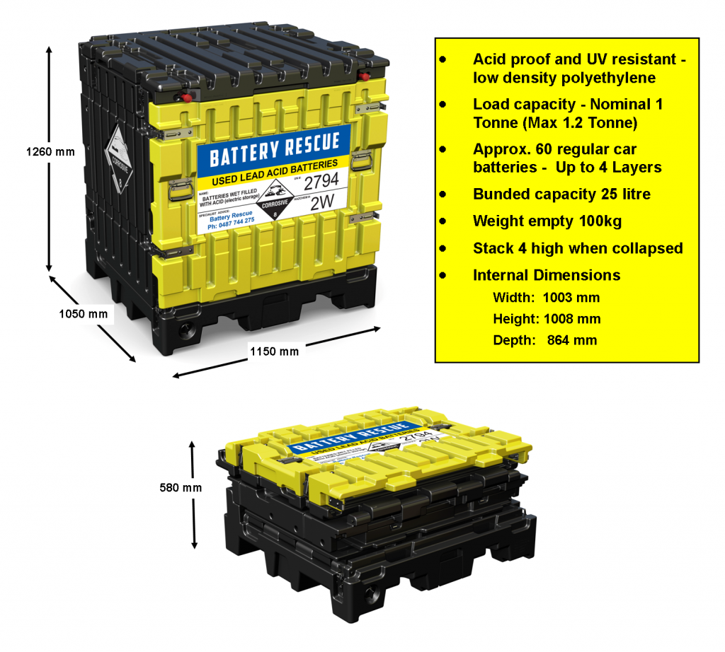 UNISEG Used Battery Pallet Specifications