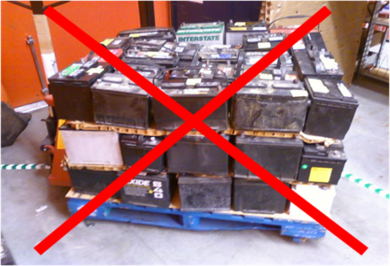 Why the wood pallet should be banned for used lead acid battery storage & transport