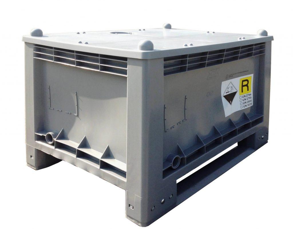 Plastic box for storage & transport of used lead acid batteries