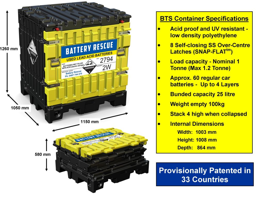 Battery Transport & Storage Container Specifications