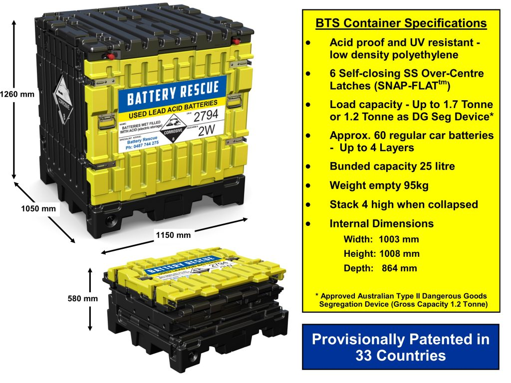 BTS Battery Container Specifications